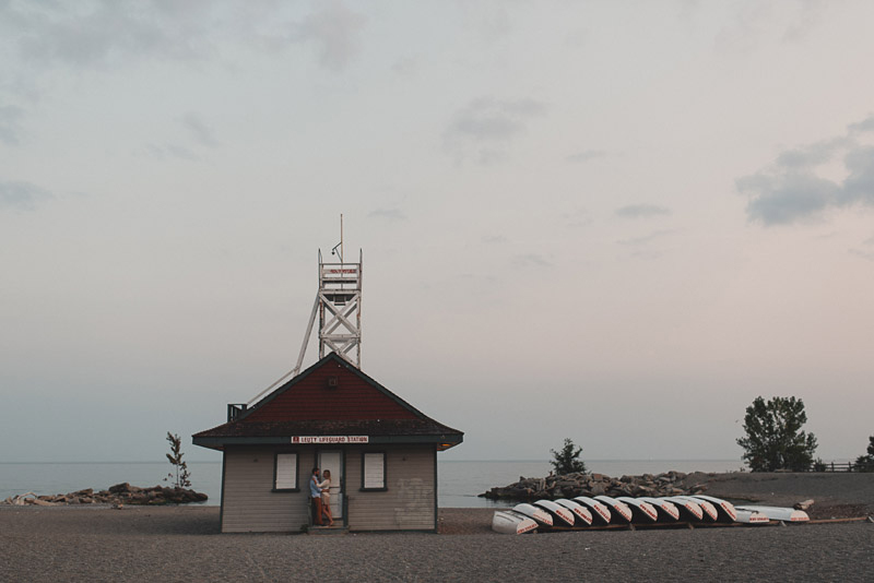couple in front of the leuty lifeguard station