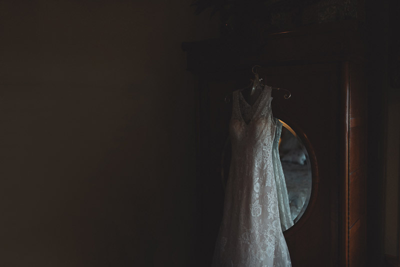 Wedding Dress Hanging on cabinet
