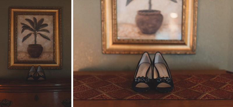 wedding shoes on dresser