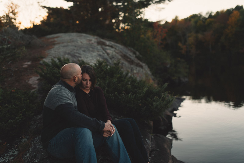 intimate moment at engagement session in Peterborough, Ontario