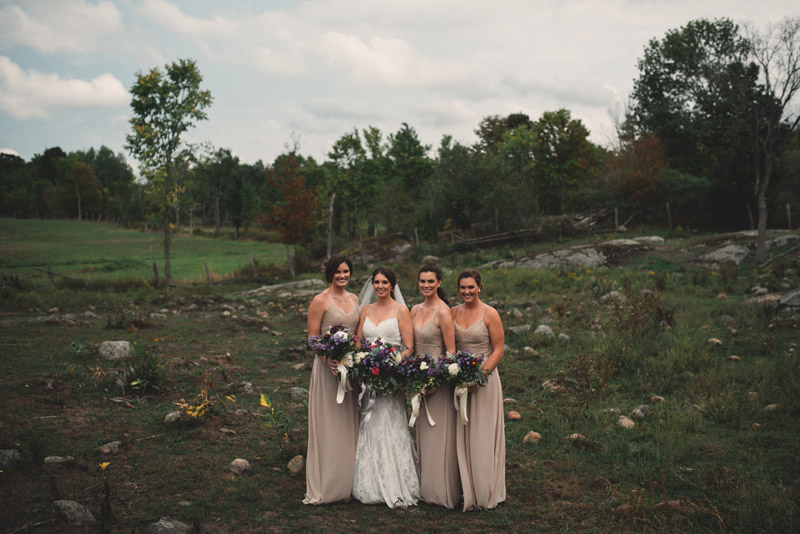 bridesmaid portrait in field