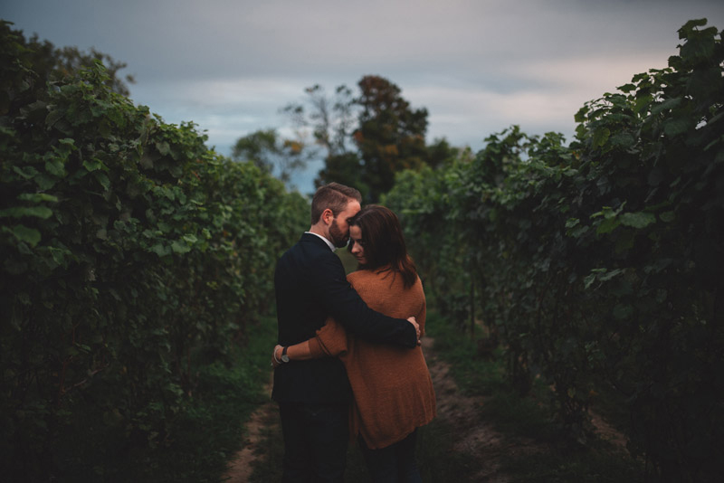 couple during their vineyard engagement session