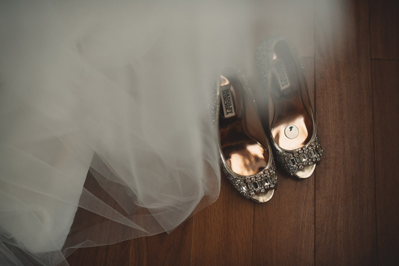 close up of wedding shoes