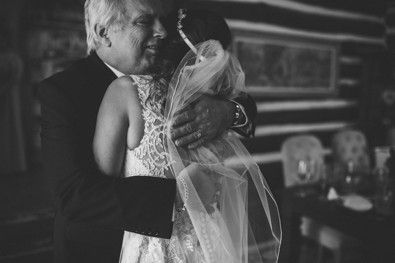 first look with father of the bride, embracing