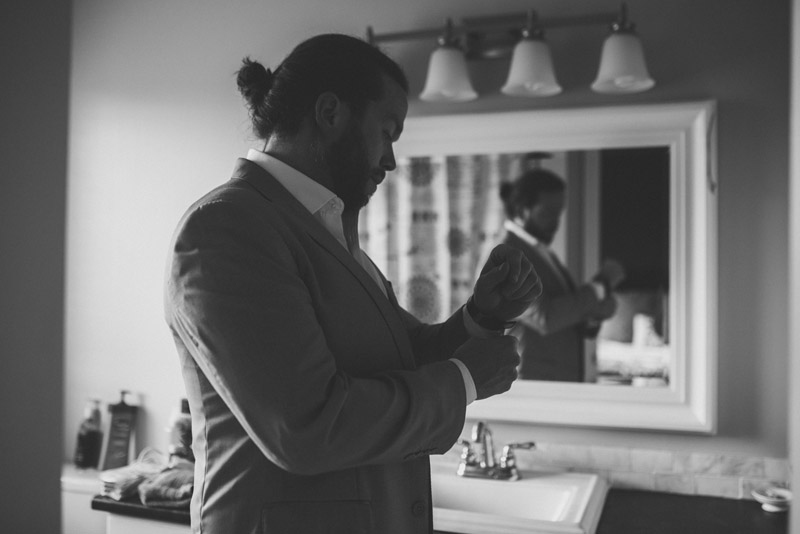 groom prep in bathroom