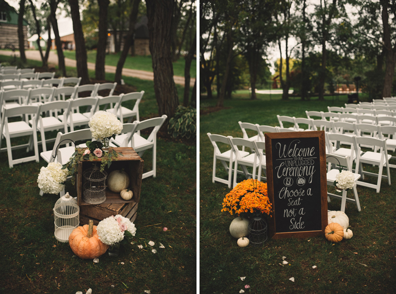 Cute chalkboard wedding ceremony signs